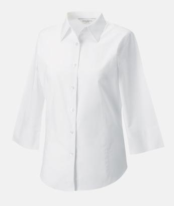 Vit (bild 2) Lättskötta blusar med reklamtryck