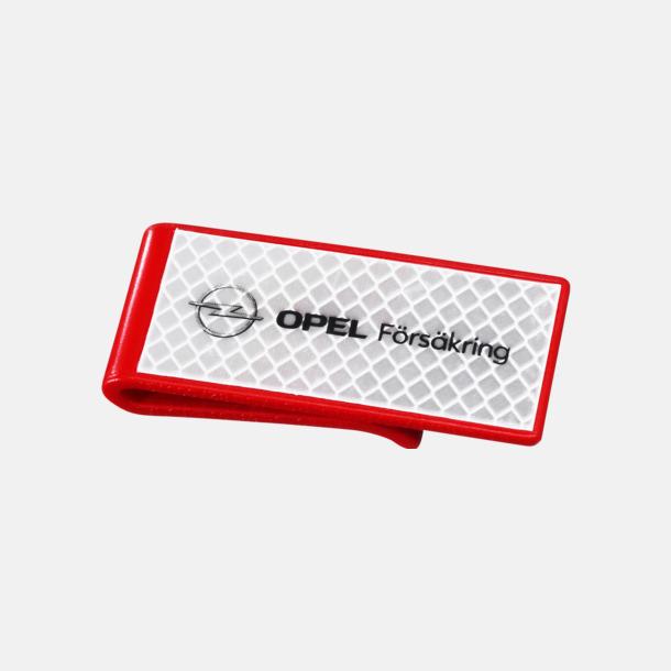 Röd Billig reflexklämma med tryck