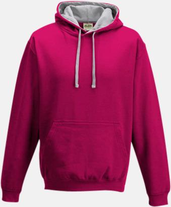 Hot Pink/Heather Grey Huvtröjor med insida av luva och dragsko i kontrasterande färg - med reklamtryck