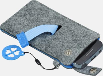 Grå/Blå (liten 2) Mobilfodral i filt med reklamtryck