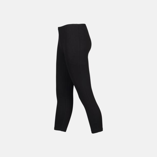3/4 (sida) Svarta leggings i två längder med reklamtryck