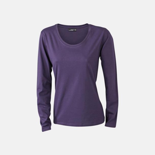 Aubergine (dam) Långärmade t-shirts i herr-, dam- & barnmodell med reklamtryck