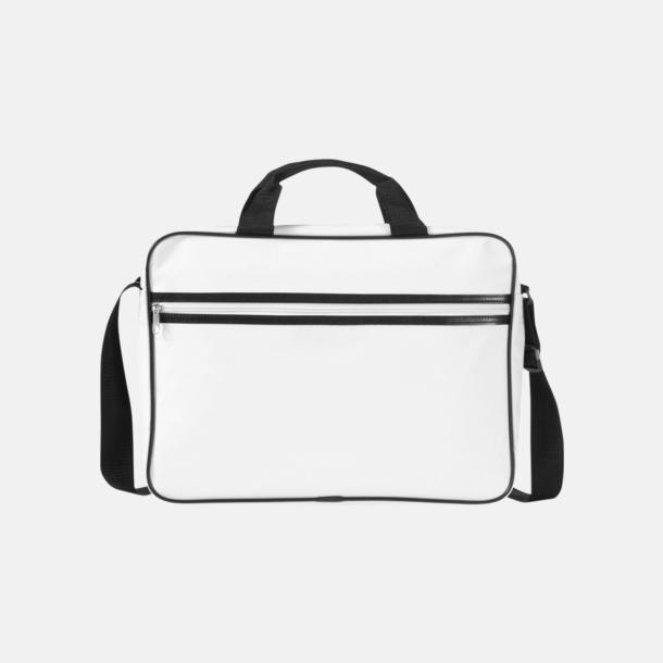 Vit / Svart Vadderade laptopväskor i retrodesign - med reklamtryck