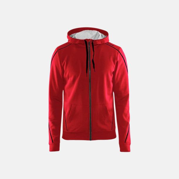 Bright Red/Svart/Grey Melange Tränings huvtröjor med dragkedja med reklamtryck