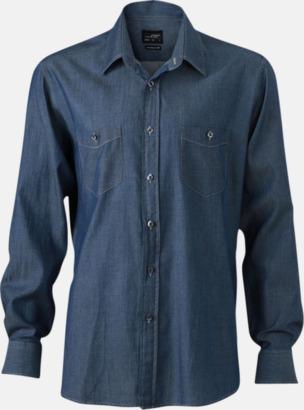 Dark Denim (herr) Easy Care premium jeansskjortor med reklamtryck