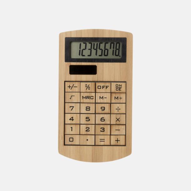 Brun Ekovänliga miniräknare i bambu med reklamtryck