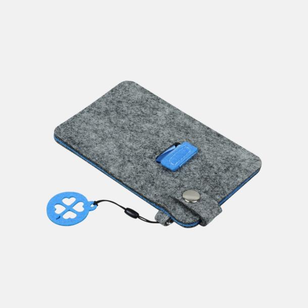 Grå/Blå (liten 3) Mobilfodral i filt med reklamtryck
