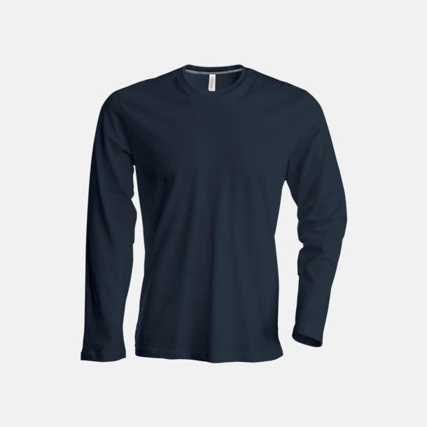 Mörkgrå (crewneck, herr) Långärmad t-tröja med rundhals för herr och dam med reklamtryck