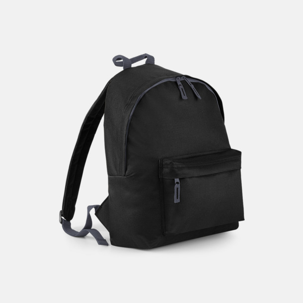 Svart Klassisk ryggsäck i 2 storlekar med eget tryck