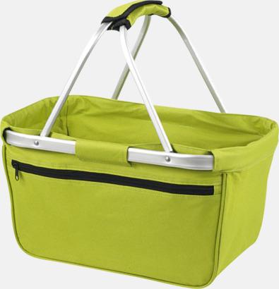Ljusgrön Shopping- & picknickkorg med reklamtryck