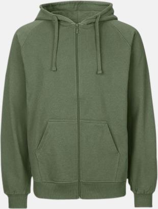 Military (herr) Ekologiska huvtröjor med blixtlås i herr- & dammodell med reklamtryck