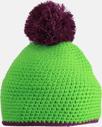 Limegrön/Mörklila Toppluvor med rand och toft i annan färg - med bordyr