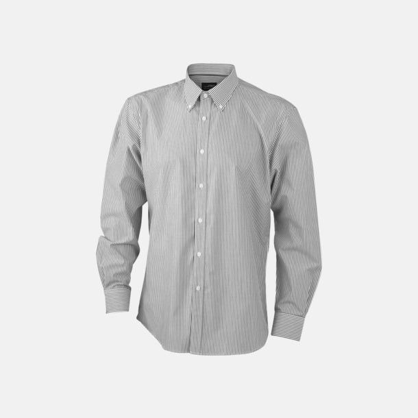 Vit/Svart (herr) Bomullsblusar & -skjortor med fina ränder - med reklamtryck