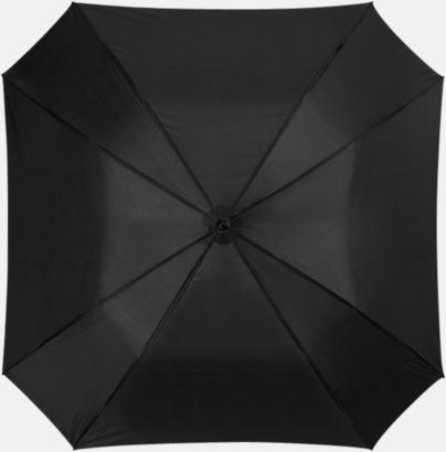 Svart Billiga paraplyer i fyrkantig form - med reklamtryck