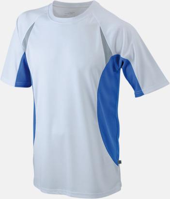 Vit/Blå/Reflex Flerfärgade tränings t-shirts i herrmodell med reklamtryck