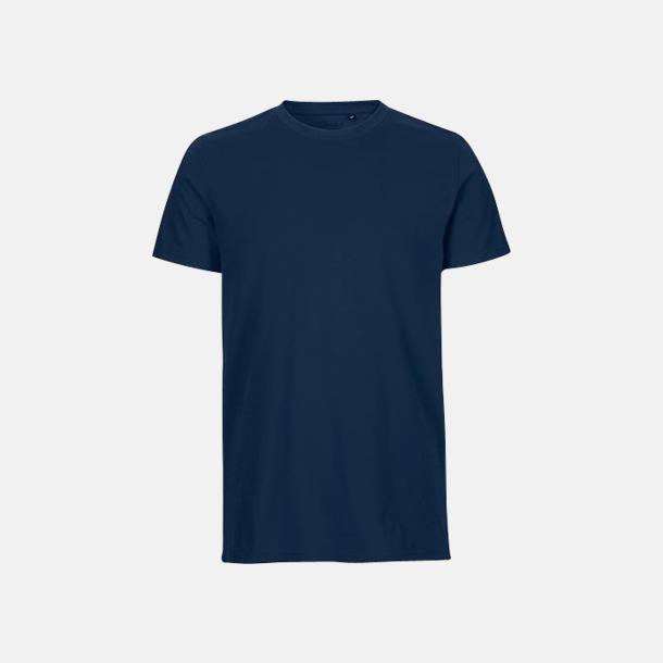 Marinblå (herr) Fitted t-shirts i ekologisk fairtrade-bomull med tryck