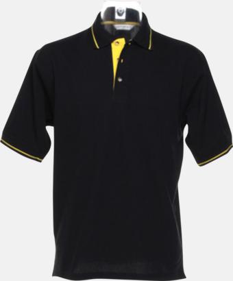 Svart/Gul (herr) Tvåfärgade pikétröjor i herr- och dammodell med reklamtryck