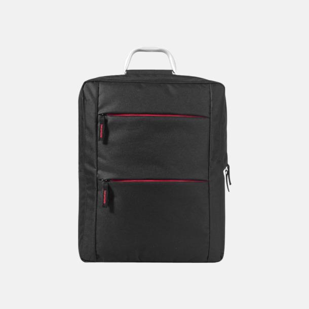 Svart/Röd Laptopbagar med handtag i aluminium - med reklamtryck