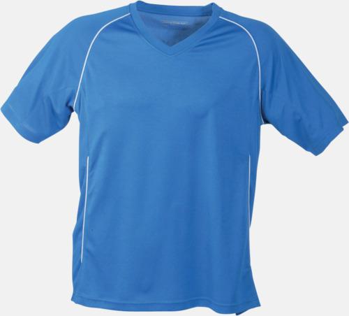 Blå T-shirt i funktionsmaterial med eget tryck