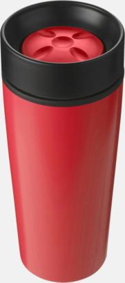 Röd Ståltermosar med trycklock - med reklamtryck
