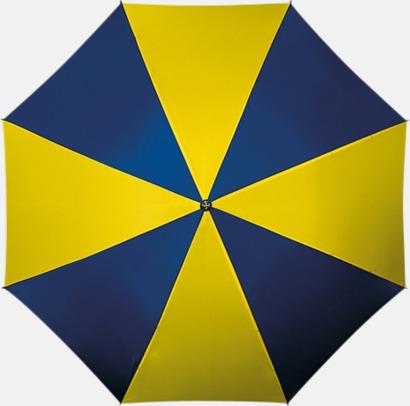 Guld/Mörkblå Golfparaplyer med ergonomiska trähandtag