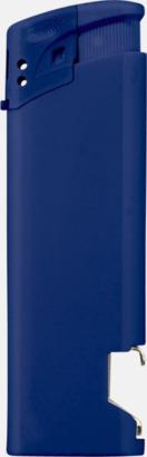 Blå Påfyllningsbara tändare med kapsylöppnare - med reklamtryck