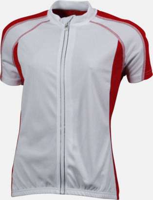 Vit/Röd (dam) Herr- och damcykeltröjor med hel dragkedja - med reklamtryck