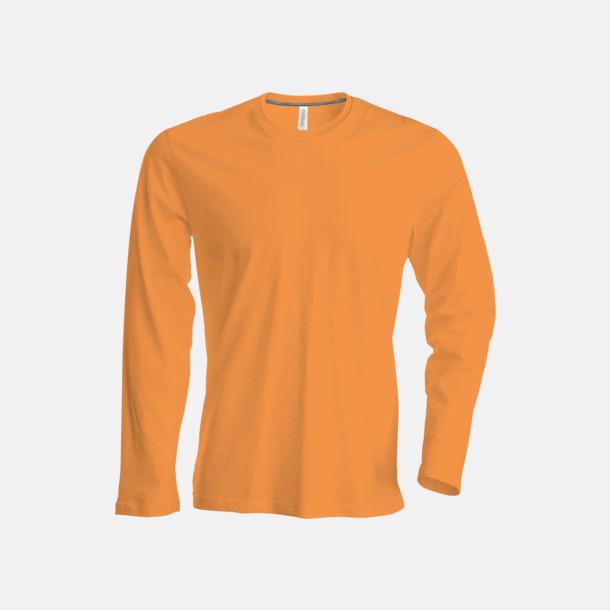 Orange (crewneck, herr) Långärmad t-tröja med rundhals för herr och dam med reklamtryck