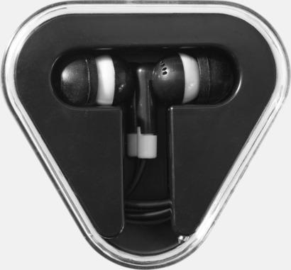 Svart (solid) In-ear hörlurar i praktisk förpackning