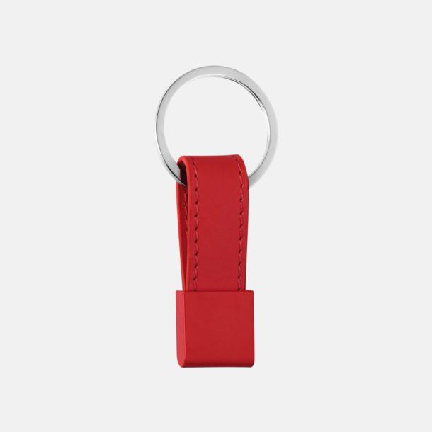 Röd Nyckelring med bricka och band i valbar färg - med reklamtryck