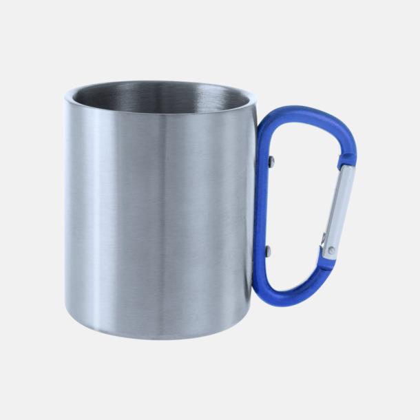 Silver / Blå Stålmuggar med färgat karbinhakeöra med reklamtryck