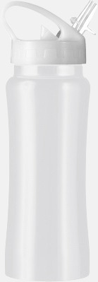 Vit Vattenflaskor med handtag - med reklamtryck