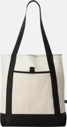 Svart/Benvit Mönstrade non woven-väskor med reklamtryck