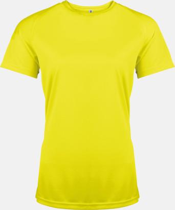 Floucerande Gul Sport t-shirts i många färger för damer - med reklamtryck