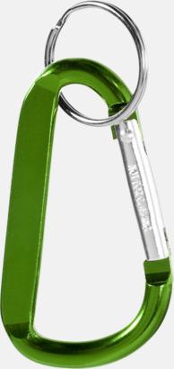 Grön (PMS 364C) Karbinhake med nyckelring - med tryck