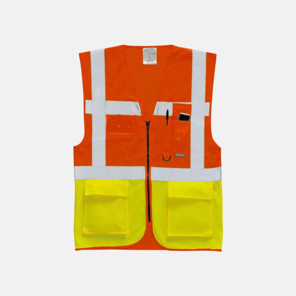 Hi-Vis Orange/Hi-Vis Yellow Varselvästar med 2-färgade modeller - med reklamtryck