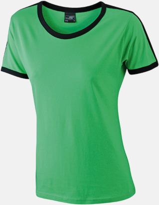 Frog/Svart (dam) T-shirts med kontrastfärger - med reklamtryck