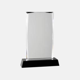 Kristalltroféer i två storlekar med reklamtryck