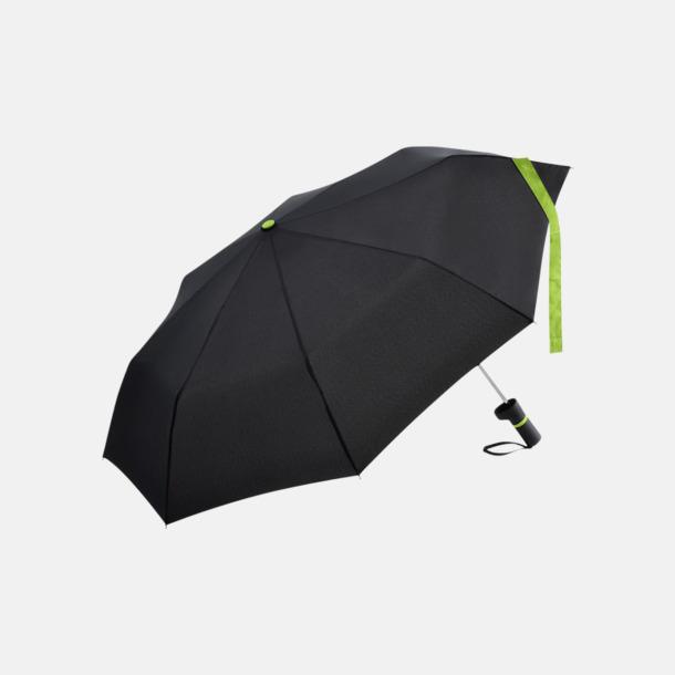 Svart / Limegrön Paraplyer med skaftet på sidan - med reklamtryck