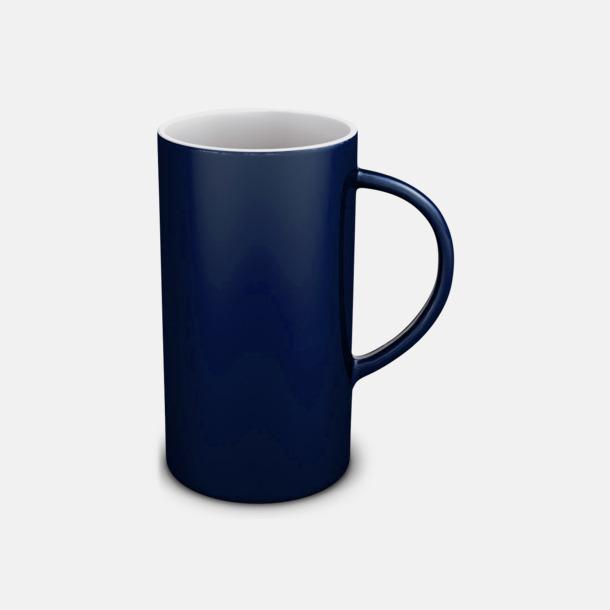 Blå/Vit Cylinderformade stengodsmuggar med eget tryck