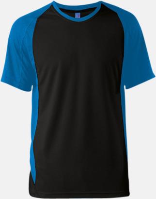 Svart/Aqua Blue Tvåfärgade funktionströjor för män - med reklamtryck