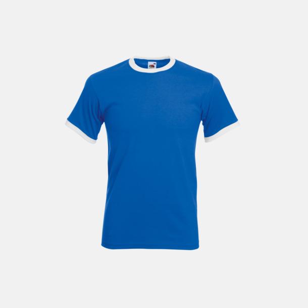 Royal Blue/Vit T-shirt med kontrasterande färger - med reklamtryck