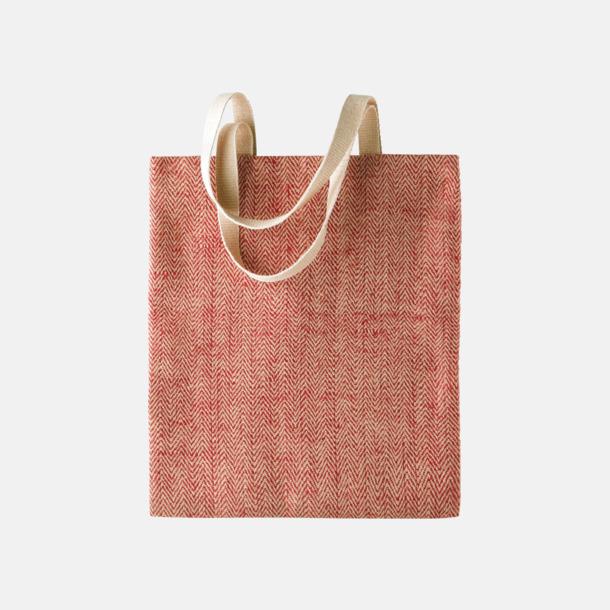 Röd/Natur Miljövänliga jutebagar med reklamtryck