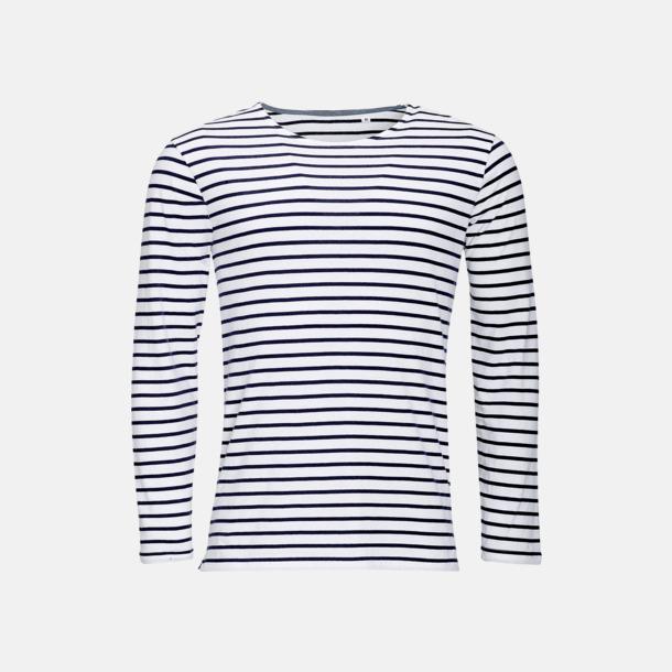 Vit/Marinblå (herr) Randiga, långärmade herr- & dam tröjor med reklamtryck