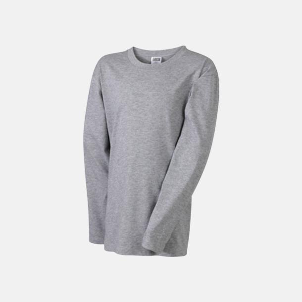 Grey Heather (barn) Långärmade t-shirts i herr-, dam- & barnmodell med reklamtryck