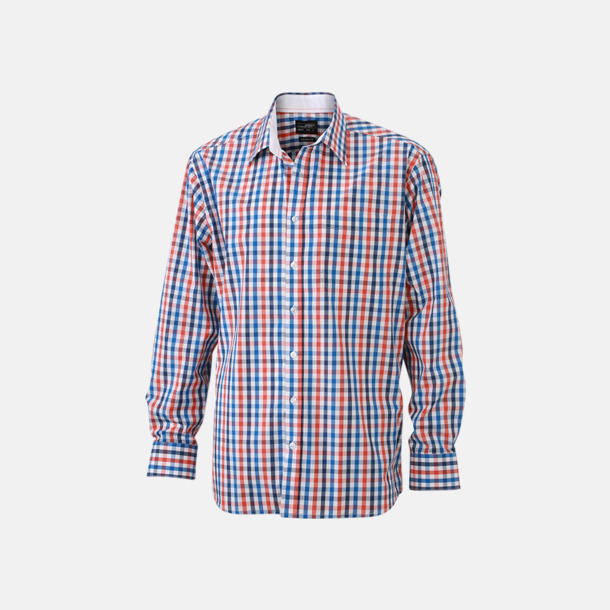 Mörkorange/Blå-Orange-Vit (herr) Rutiga bomullsskjortor & -blusar med reklamtryck