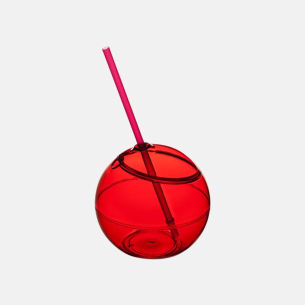 Röd Klotformad mugg med sugrör - med tryck