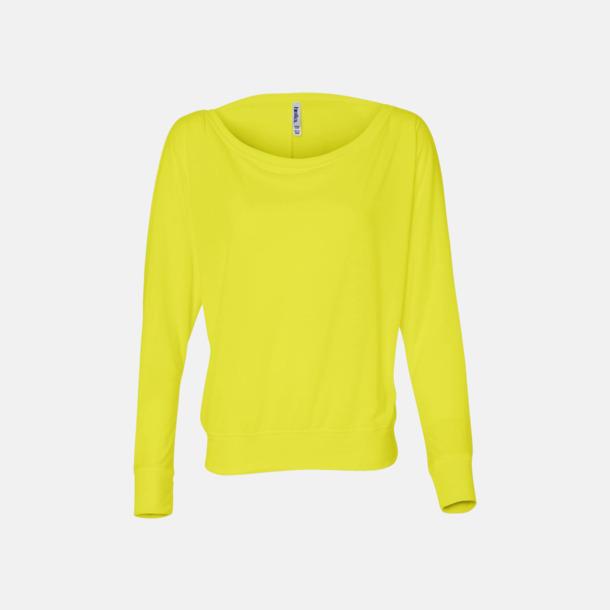 Neon Yellow Långärmade dam t-shirts med reklamtryck