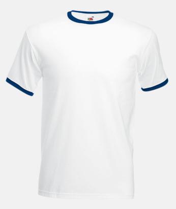 Vit/Marinblå T-shirt med kontrasterande färger - med reklamtryck
