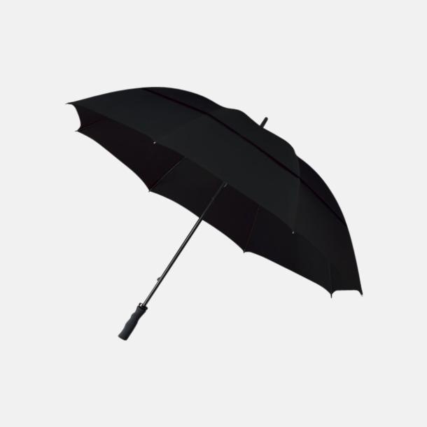 Svart Stormsäkra paraplyer med eget reklamtryck